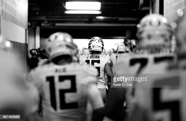 Oregon Ducks take the field prior to the College Football Playoff National Championship Game against the Ohio State Buckeyes at ATT Stadium on...