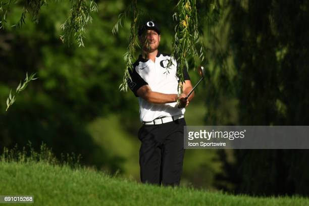 Oregon Ducks' Wyndham Clark watches his chip on the 17th hole during the final round of the NCAA Division I Men's Golf Championship on May 31 at Rich...