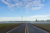 USA, Oregon, Marion County, Highway going through plain covered with fog