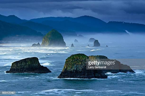 Oregon Sea Stacks Foggy Dawn