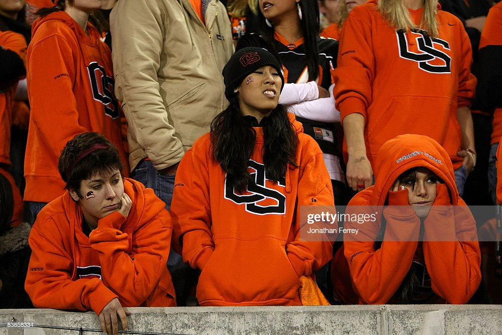 Oregon State Beaver fans show their dejection as they fall behind to of the Oregon Ducks at Reser Stadium on November 29 2008 in Corvalis Oregon