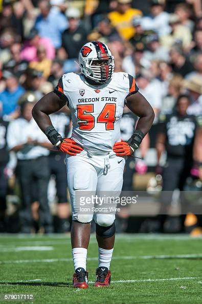 Oregon State Beavers defensive tackle Brandon BennettJackson during a PAC 12 conference game between the Colorado Buffaloes and the Oregon State...