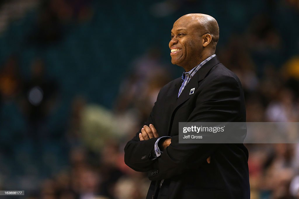 Oregon State head coach Craig Robinson smiles against Colorado during the first round of the Pac 12 Tournament at the MGM Grand Garden Arena on March...