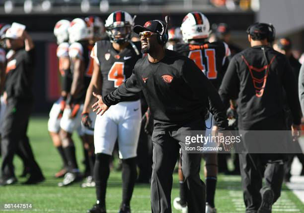 Oregon State University Interim Head Coach Cory Hall directs his players from the sideline during a college football game between the Colorado...