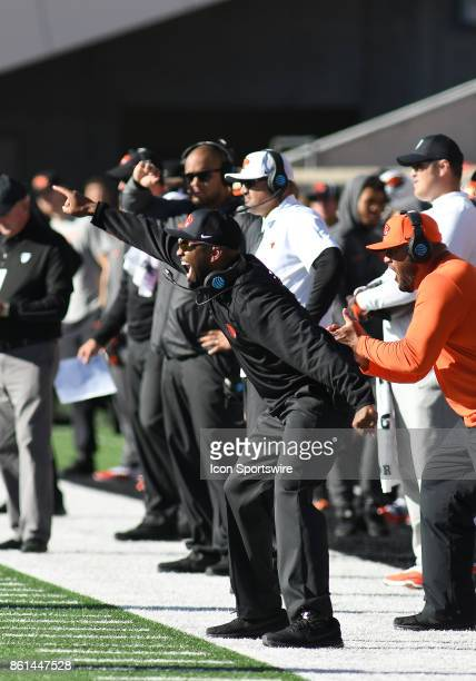 Oregon State University Interim Head Coach Cory Hall directs his defense from the sideline during a college football game between the Colorado...