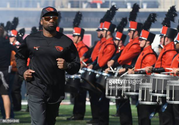 Oregon State University Interim Head Coach Cory Hall takes the field for the first time as head coach during a college football game between the...