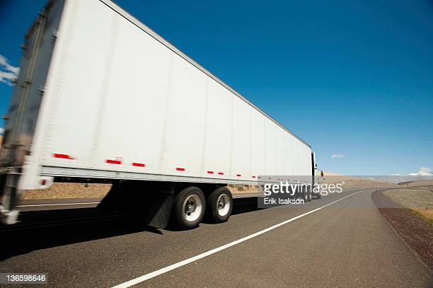 USA, Oregon, Wasco, Lorry travelling through rural landscape
