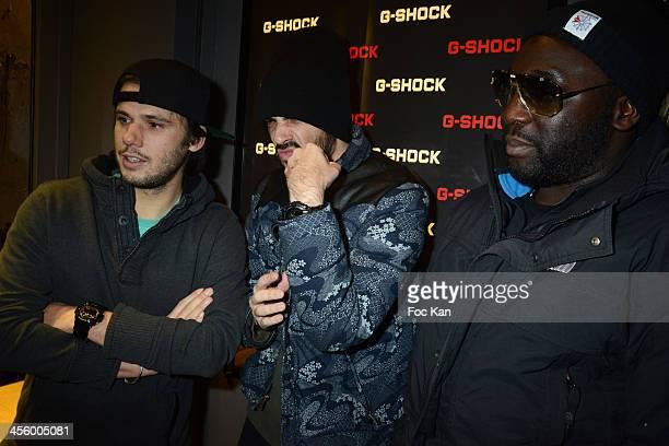Orelsan Gringe and a guest attend the 'GShock Store' Rue Sainte Croix De La Bretonnerie Opening Cocktail on December 12 2013 in Paris France