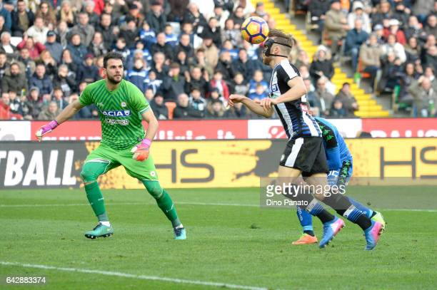 Orestis Karnezis goalkeeper and Silvan Widmer of Udinese Calcio during the Serie A match between Udinese Calcio and US Sassuolo at Stadio Friuli on...