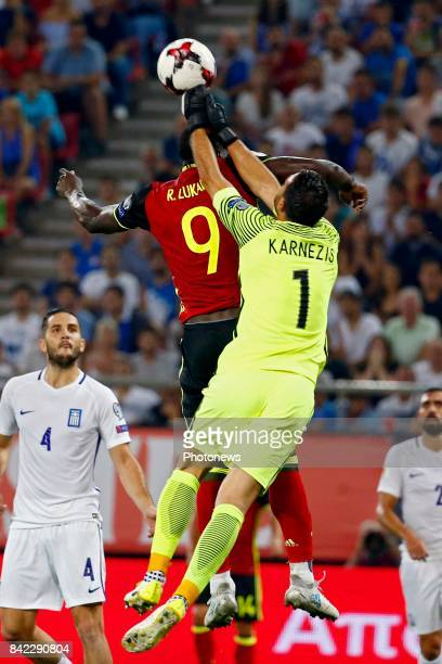 Orestis Karnezis goalkeeper of Greece and Romelu Lukaku forward of Belgium and during the World Cup Qualifier Group H match between Greece and...