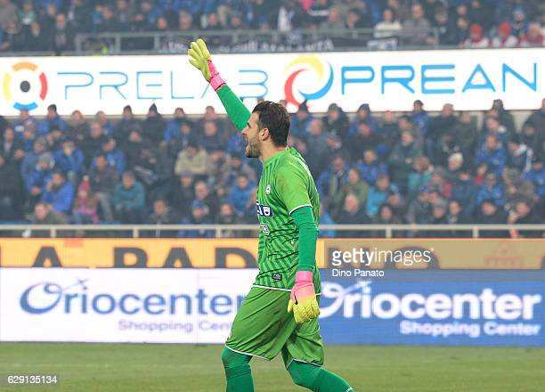 Orestis Karnezis goalkeeper of Udinese Calcio gestures during the Serie A match between Atalanta BC and Udinese Calcio at Stadio Atleti Azzurri...