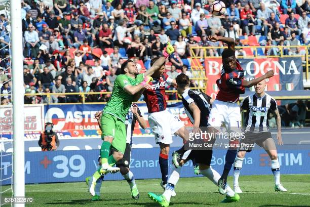Orestis Karnezis goalkeeper of Udinese Calcio saves his goal during the Serie A match between Bologna FC and Udinese Calcio at Stadio Renato Dall'Ara...