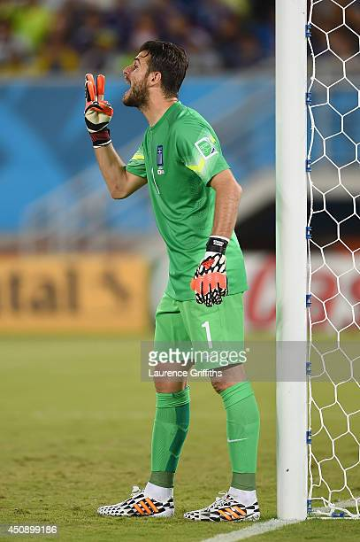 Orestis Karnezis of Greece gestures during the 2014 FIFA World Cup Brazil Group C match between Japan and Greece at Estadio das Dunas on June 19 2014...