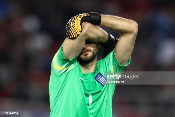 Orestis Karnezis of Greece looks dejected during the FIFA 2018 World Cup Qualifier PlayOff Second Leg between Greece and Croatia at Karaiskakis...