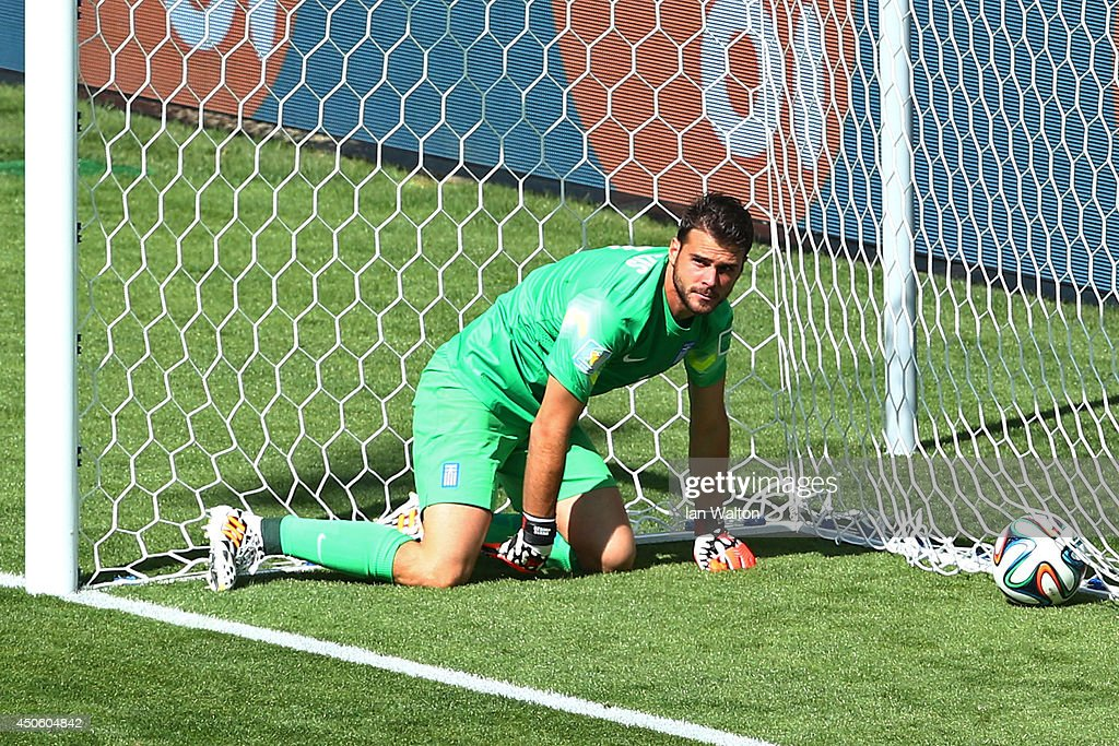 <a gi-track='captionPersonalityLinkClicked' href=/galleries/search?phrase=Orestis+Karnezis&family=editorial&specificpeople=9475602 ng-click='$event.stopPropagation()'>Orestis Karnezis</a> of Greece looks on after failing to save a shot by Pablo Armero of Colombia (not pictured) for their first goal during the 2014 FIFA World Cup Brazil Group C match between Colombia and Greece at Estadio Mineirao on June 14, 2014 in Belo Horizonte, Brazil.