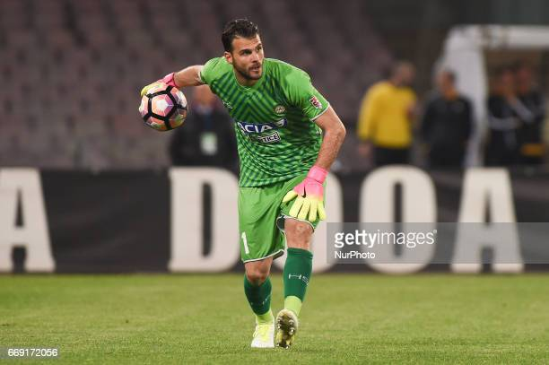Orestis Karnezis of Udinese Calcio during the Serie A TIM match between SSC Napoli and Udinese Calcio at Stadio San Paolo Naples Italy on 15 April...