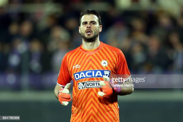 Orestis Karnezis of Udinese Calcio gestures during the Serie A match between ACF Fiorentina and Udinese Calcio at Stadio Artemio Franchi on February...