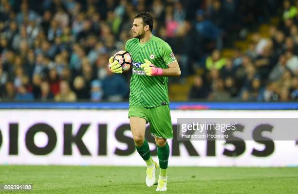 Orestis Karnezis of Udinese Calcio in action during the Serie A match between SSC Napoli and Udinese Calcio at Stadio San Paolo on April 15 2017 in...