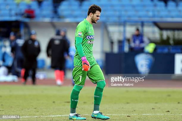 Orestis Karnezis of Udinese Calcio reacts during the Serie A match between Empoli FC and Udinese Calcio at Stadio Carlo Castellani on January 22 2017...