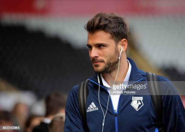 Orestis Karnezis of Watford arrives prior to the game during the Premier League match between Swansea City and Watford at The Liberty Stadium on...