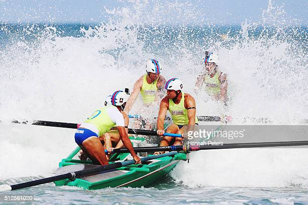 Orewa compete in the Piha Big Wave Classic at Piha Beach on February 27 2016 in Auckland New Zealand