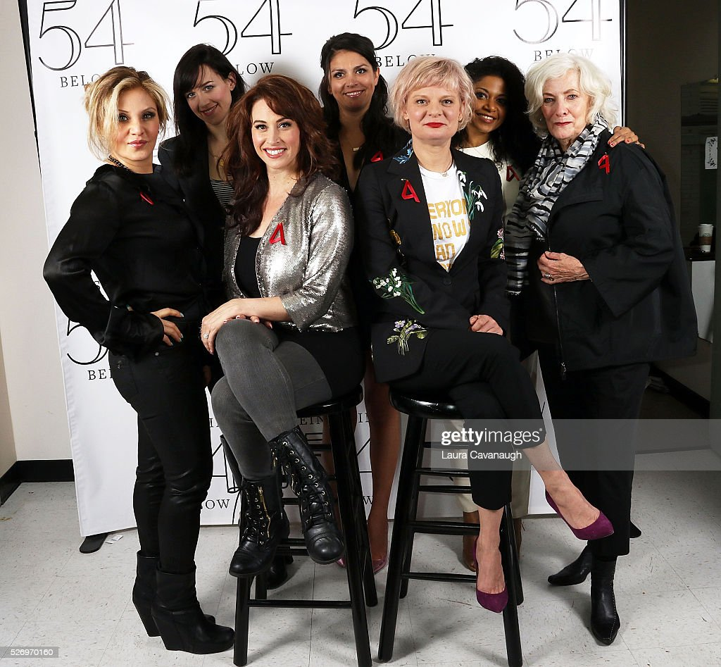 Orfeh, Lena Hall, Leslie Margherita, Cecily Strong, Martha Plimpton, Rebecca Naomi Jones and Betty Buckley attend Broadway Acts for Women: A Star-Studded Night of Karaoke and Comedy at 54 Below on May 1, 2016 in New York City.