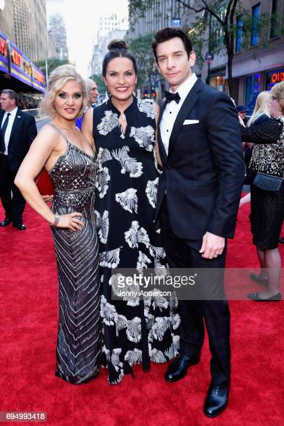 Orfeh Mariska Hargitay and Andy Karl attend the 2017 Tony Awards at Radio City Music Hall on June 11 2017 in New York City