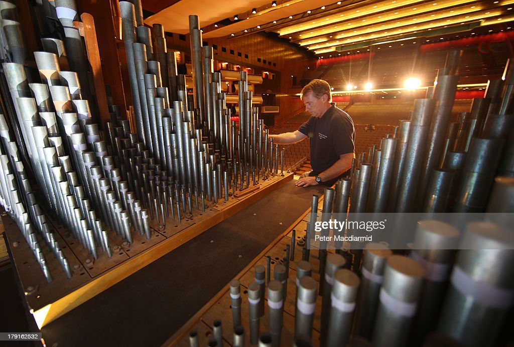 Organ builder John Oliver inspects the pipes at the Royal Festival Hall organ at Southbank Centre on August 30, 2013 in London, England. Recently unveiled following its restoration and re-installation by organ builders Harrison & Harrison at a cost of £2.3 million raised through donations from 60,000 people and a grant from the Heritage Lottery Fund. The instrument, comprising 7,866 pipes, will now be voiced and balanced ahead of its re-inauguration at the Pull Out All The Stops organ festival, running from March 18, 2014 to June 7, 2014. The festival also marks the organs 60th anniversary since it was first played in May 1954.