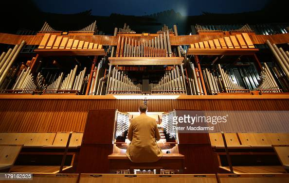 Organ Curator Dr William McVicker sits at the console of the Royal Festival Hall organ at Southbank Centre on August 30 2013 in London England...