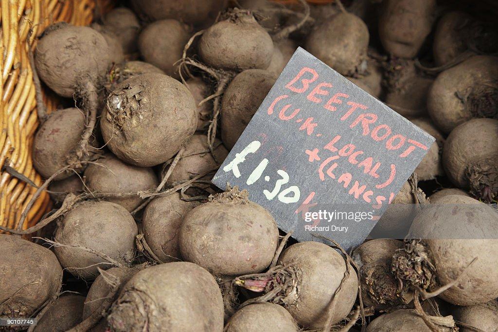Organic beetroot on market stall : Stock Photo