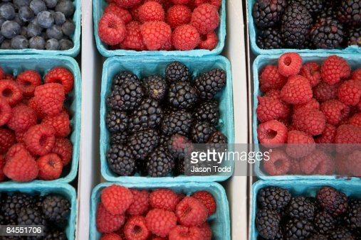 organic berries in containers