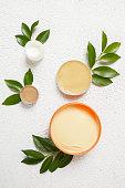 Organic cosmetics - top view of natural producys