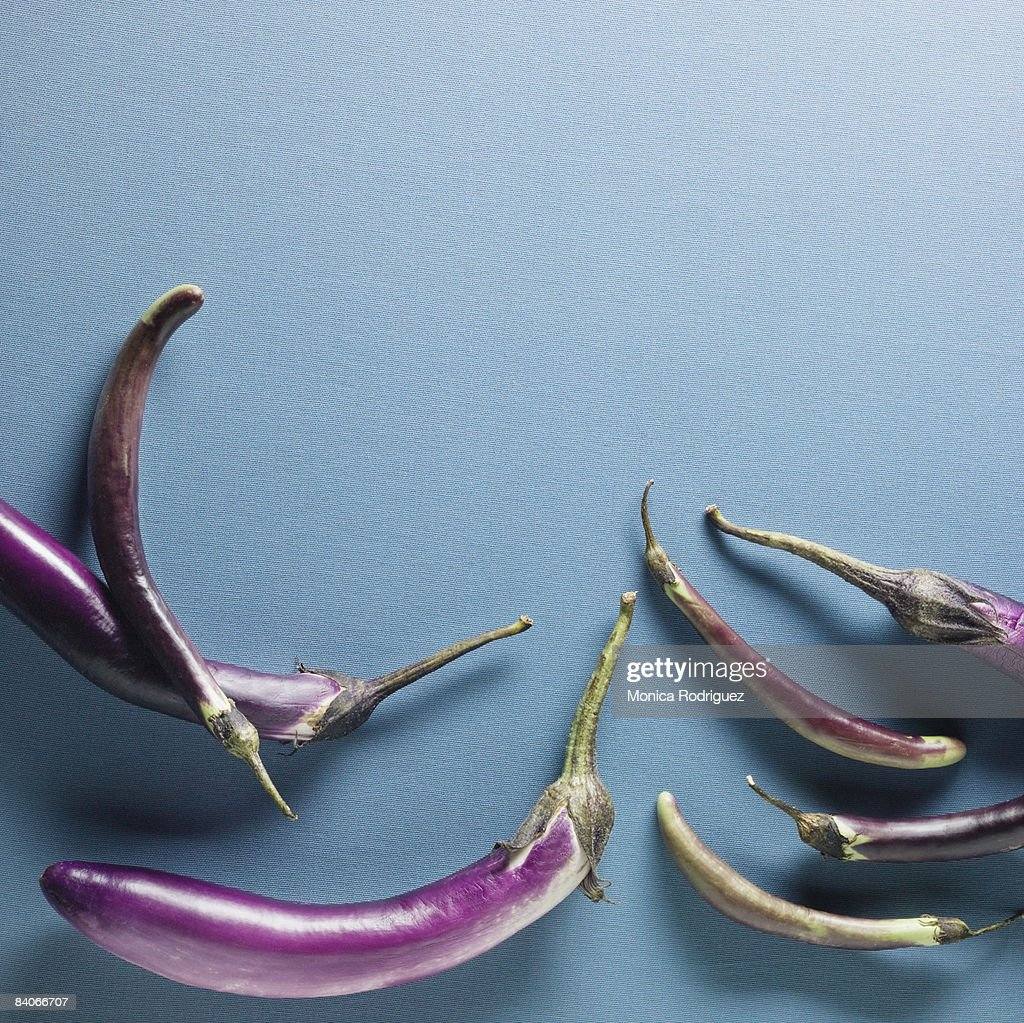 Organic  Eggplants : Stock Photo