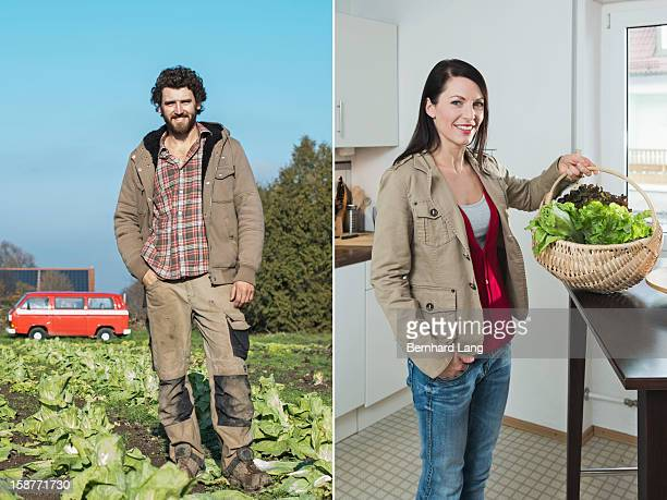 Organic farmer left, woman with basket right