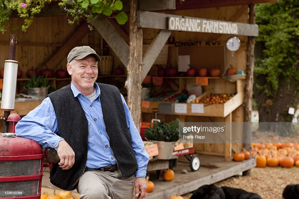Organic farmstand owner, Dover, MA : Stock Photo
