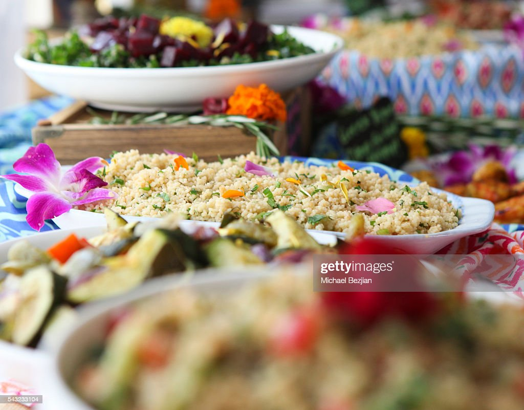 Organic food being served at The Starving Artists Project on June 26, 2016 in Los Angeles, California.