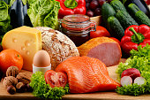 Variety of organic food including vegetables fruit bread dairy and meat. Balanced diet.