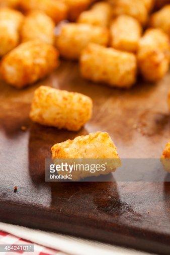 Organic Fried Tater Tots : Stock Photo