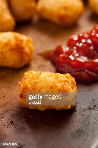Organic Fried Tater Tots : Stock Photo