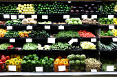 Organic Fruits and vegetables on a supermarket