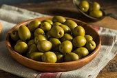 Organic Greek Green Olives in a Bowl