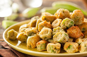 Organic Homemade Fried Green Okra against a Background