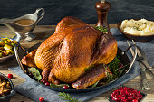 Organic Homemade Smoked Turkey Dinner for Thanksgiving with Sides