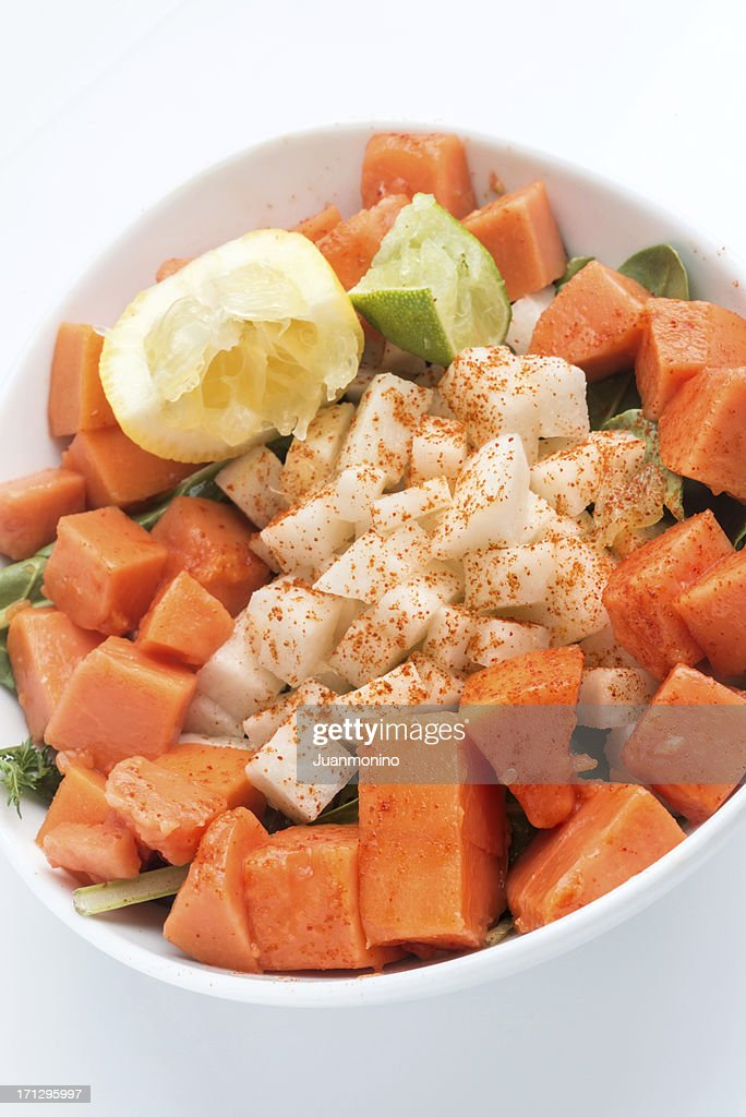 Organic Jicama and Papaya Salad (vegan cuisine) : Stock Photo