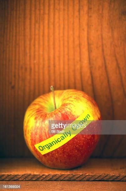 Organic label on Cortland apple