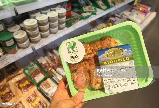 Organic meats and meat products stand on display at the LPG Bio supermarket in the district of Prenzlauerberg September 6 2007 in Berlin Germany...