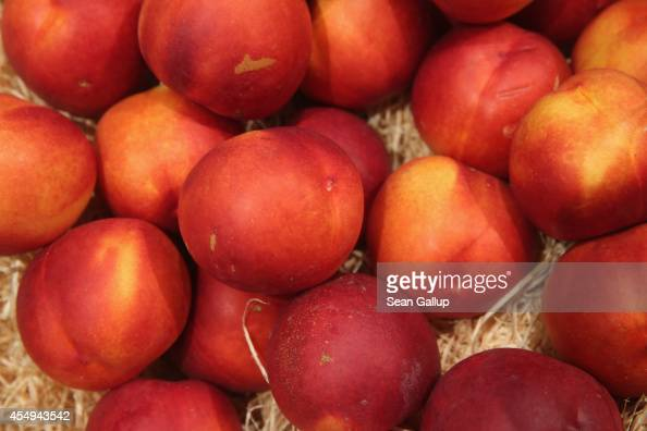 Organic nectarines lie on display among fruits and vegetables at the Liebherr stand at the 2014 IFA home electronics and appliances trade fair on...
