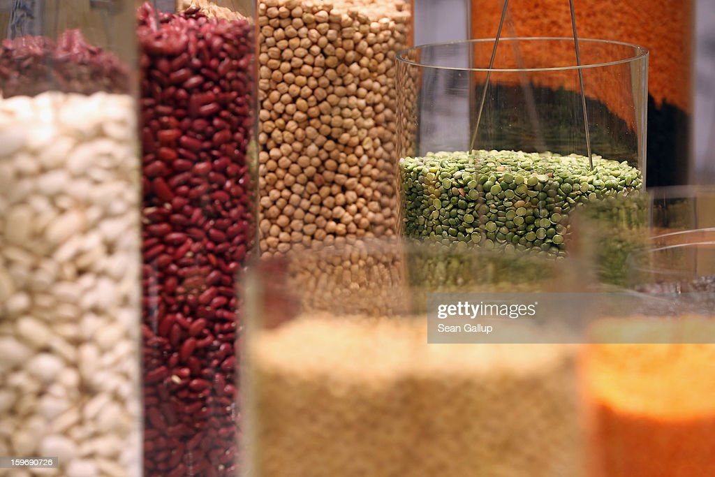 Organic pulses, including lentils and beans, lie in glass cylinders on display at the 2013 Gruene Woche agricultural trade fair on January 18, 2013 in Berlin, Germany. The Gruene Woche, which is the world's largest agricultural trade fair, runs from January 18-27, and this year's partner country is Holland.