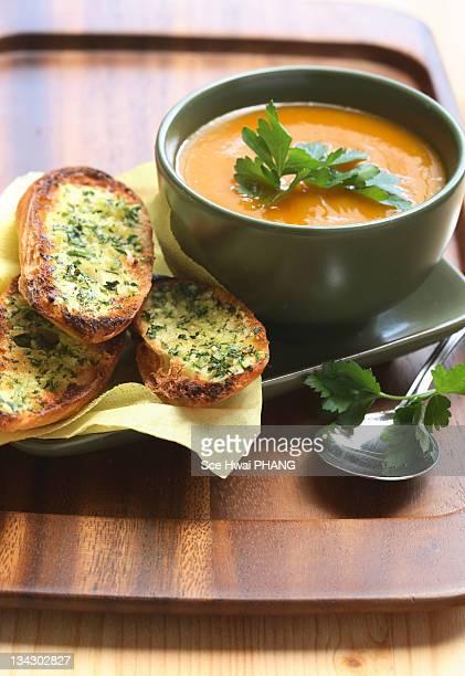 Organic pumpkin soup with herbed garlic bread