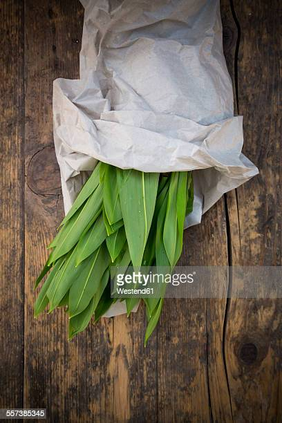 Organic ramson wrapped in paper